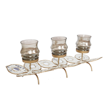 Mosaic Leaves 3 Candle Stand - @home by Nilkamal, Gold