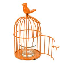 Lantern Free Bird Cage Votive Holder - @home by Nilkamal, Orange