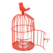 Lantern Free Bird Cage Votive Holder - @home by Nilkamal, Red