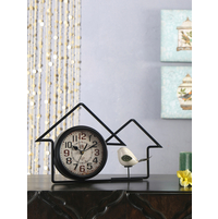 Twin House & Bird Table Clock, Black