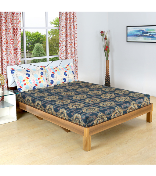 Tridal 230 cm x 250 cm Double Bedsheet - @home by Nilkamal, Sea Green
