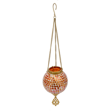 Mosaic Hanging Votive Pendant - @home by Nilkamal, Orange