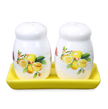 Ceramic Salt & Pepper Container with Tray - @home by Nilkamal, Yellow