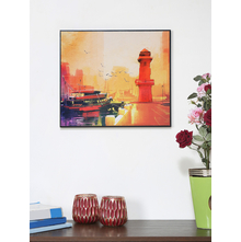 Ship Near Shore 35X41CM 3D Painting, Red