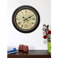 Antique Atlas Wall Clock - @home by Nilkamal, Black