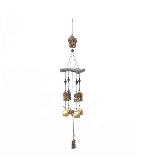 Hanging Ganesha Small Windchime - @home by Nilkamal, Gold