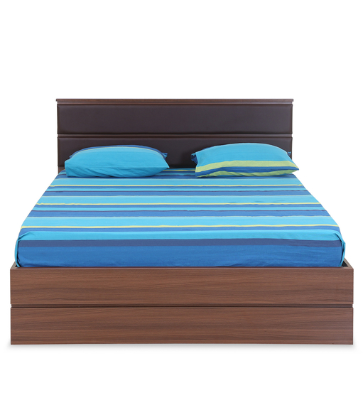 Champion Queen Bed with Storage - @home by Nilkamal, Walnut
