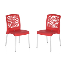 Nilkamal Novella 19 Stainless Steel Chair - Set of 2, Bright Red