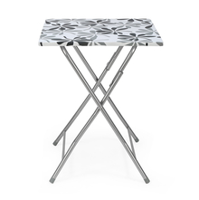 Tulsa Foldable Square Table, Black & White