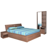 Sansa Queen Bedroom Set - @home by Nilkamal, Walnut