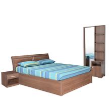 Sansa Queen Bedroom Set - @home by Nilkamal, Walnut