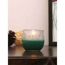 Evergreen Deep Swirl 6 Pieces Cup Candles, Green