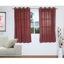 Stripe 127 cm x 152 cm Window Curtain Set of 2 - @home by Nilkamal, Maroon