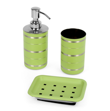 Stainless Steel 3 Piece Matte Finish Stripes Bath Set, Green