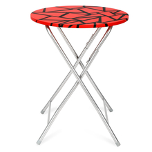 Jax Foldable Round Table, Red and Black