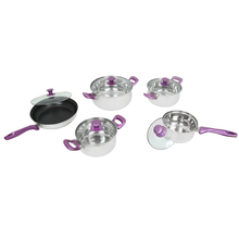 Bergner 10 Pieces Stainless Steel Cookware Set, Purple