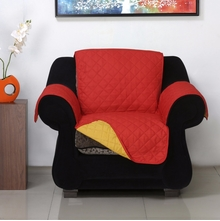 1 Seater Reversible Sofa Cover 179 cm x 165 cm - @home by Nilkamal, Red & Yellow