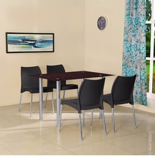 Napoli 4 Seater Dining Set - @home by Nilkamal, Black