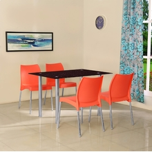 Napoli 4 Seater Dining Set - @home by Nilkamal, Red