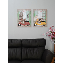 Scooter 40X50CM Set of 2 Picture Frame, Yellow & Red