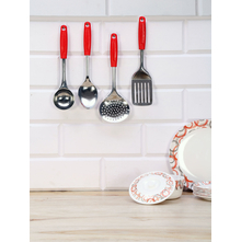 Mini Steel 4 Pieces Kitchen Tool Set, Red