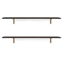 Romantic & Ares Big Wall Shelf Set of 2 - @home by Nilkamal, Walnut
