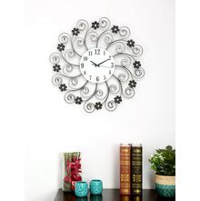 Twigs Crystal Wall Clock, Black