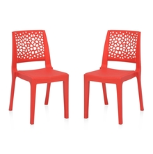 Nilkamal Nexus Chair - Set of 2, Bright Red