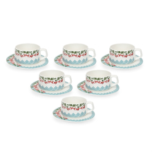 Mughal Zuri 200 ml Tea Cup & Saucer Set of 6 - @home by Nilkamal, Sea Green