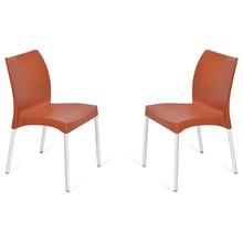 Nilkamal Novella 07 without Arm & Cushion Chair Set of 2, Rust