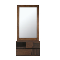 Marathon Dresser With Mirror Storage, Dark Walnut