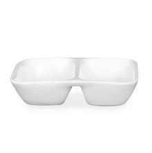 Ceramic 2 Section 60 ml Chutney Bowl - @home by Nilkamal, White