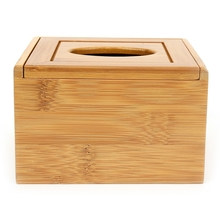 Square Bamboo Tissue Box - @home by Nilkamal, Brown