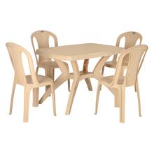 Nilkamal Shahenshah 4 Seater Kross Legged Dining Set, Marble Beige