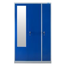 Nilkamal Edena 3 Door Wardrobe With Locker, Grey & Blue