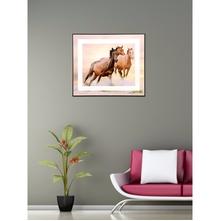 Running Horses 35 cm x 41 cm Painting - @home by Nilkamal, Brown