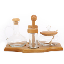 Glass Condiment Set of 4 with Stand - @home by Nilkamal, Multicolor