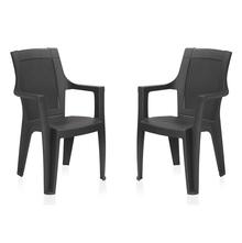 Nilkamal Mystique Chair - Set of 2, Charcoal Grey