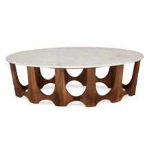 Sinclair Center Table with Marble Top, Walnut