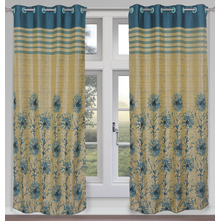 Splash 112 cm x 213 cm Door Curtain Set of 2 - @home by Nilkamal, Sea Green