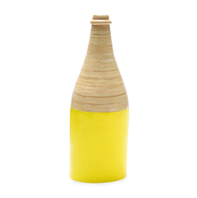 Spun Bamboo Large Bottle Vase - @home by Nilkamal, Yellow