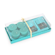 Jasmine 2 Glass Votives & Wax Fills Gift Set - @home by Nilkamal, Blue