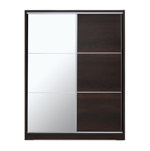 Emmette Big Sliding Wardrobe with Mirror - @home by Nilkamal, Dark Walnut