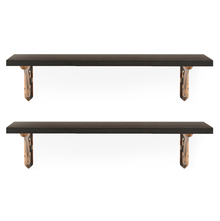Romantic & Hera Small Wall Shelf Set of 2 - @home by Nilkamal, Walnut