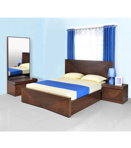 Nixon King Bedroom Set - @home by Nilkamal, Cherry