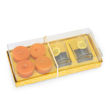Lemon 2 Glass Votives & Wax Fills Gift Set - @home by Nilkamal, Yellow