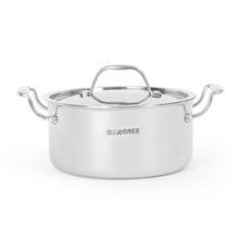 Bergner Triply Cook n Serve 20 cm Pot with Lid, Silver
