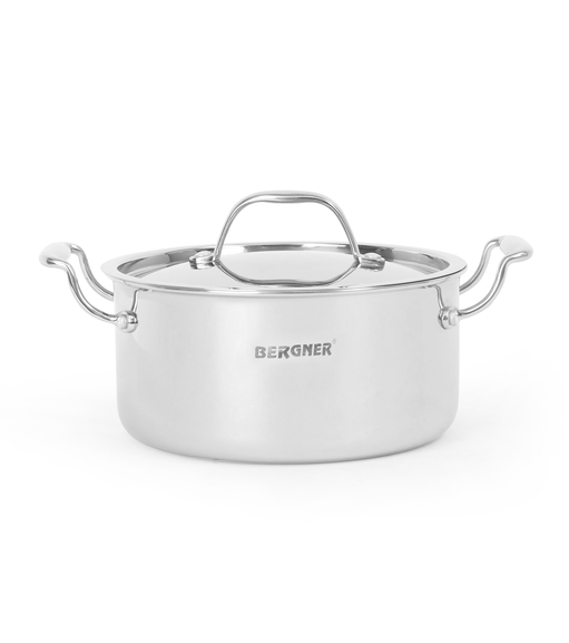 Bergner Triply Cook n Serve 20 cm Pot with Lid, Silver