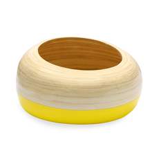 Spun 25 cm x 25 cm x 14 cm Bamboo Cacoon Bowl - @home by Nilkamal, Yellow