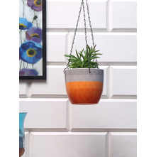 Hanging Leafy Planter, Orange